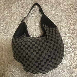 GUCCI Black GG Canvas Buckle Hobo Bag